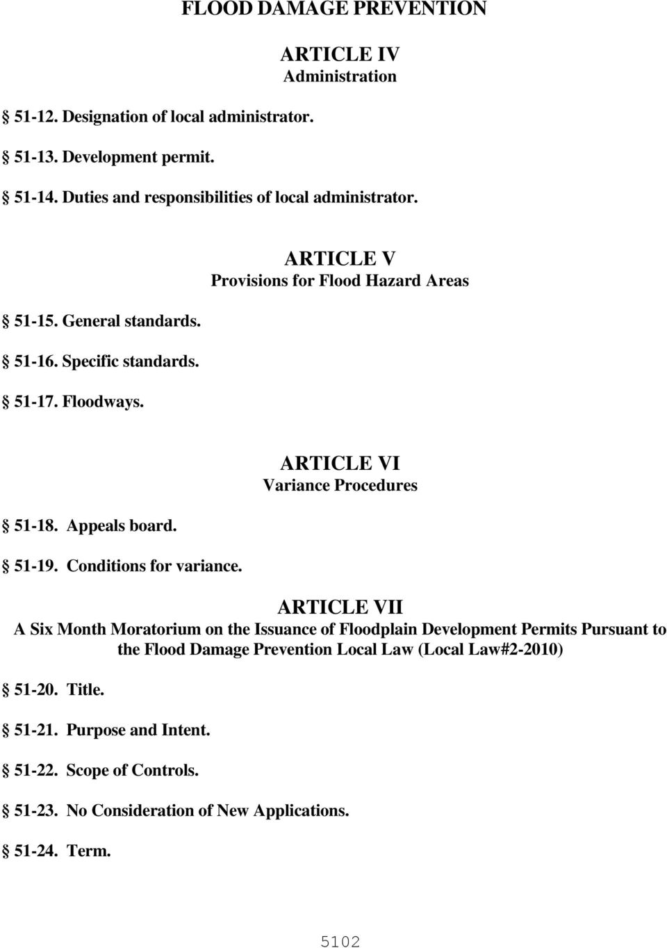 ARTICLE V Provisions for Flood Hazard Areas 51-18. Appeals board. 51-19. Conditions for variance.