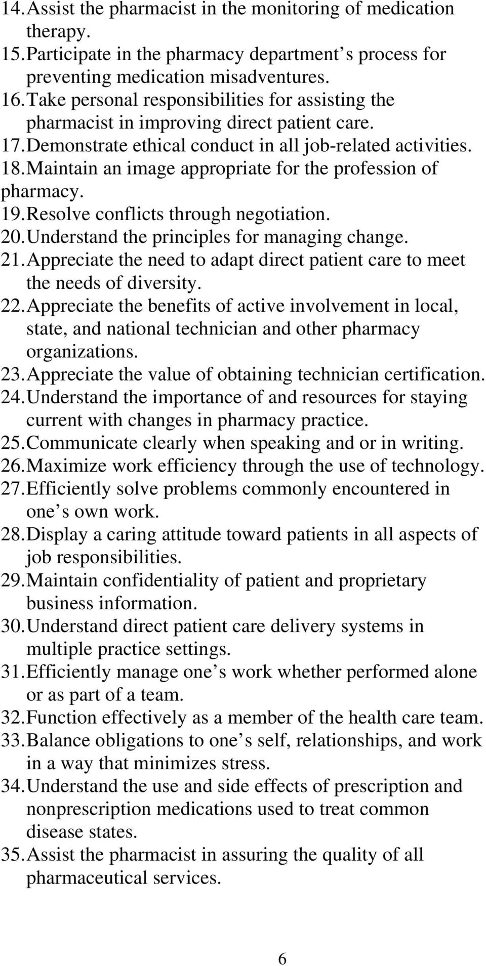 Maintain an image appropriate for the profession of pharmacy. 19. Resolve conflicts through negotiation. 20. Understand the principles for managing change. 21.
