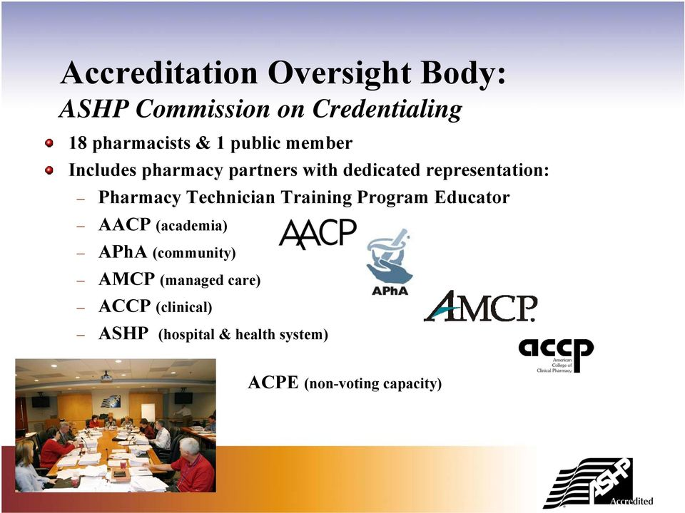 Technician Training Program Educator AACP (academia) APhA (community) AMCP