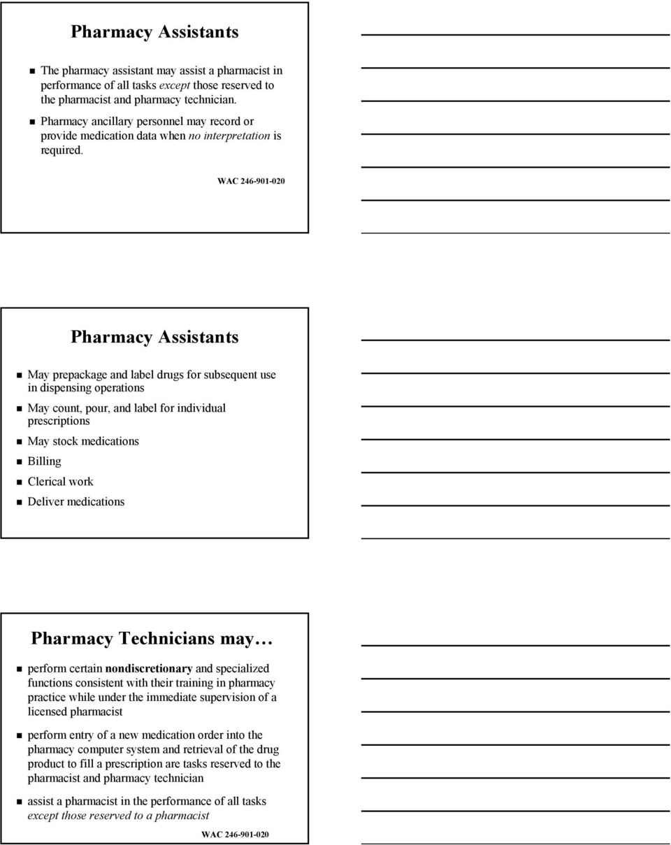 WAC 246-901-020 Pharmacy Assistants May prepackage and label drugs for subsequent use in dispensing operations May count, pour, and label for individual prescriptions May stock medications Billing