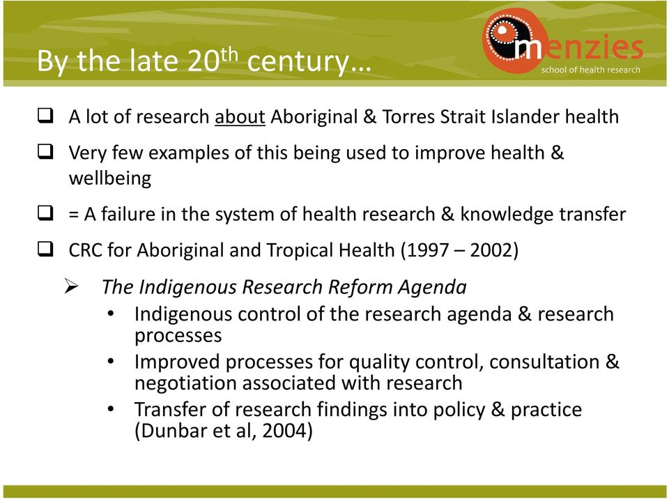 Indigenous Research Reform Agenda Indigenous Click to control edit Master of the research subtitle agenda style & research processes Improved