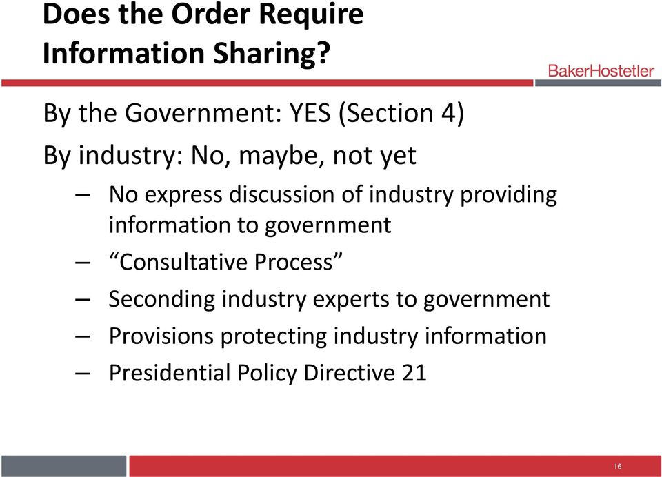 discussion of industry providing information to government Consultative Process