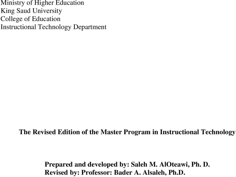 the Master Program in Instructional Technology Prepared and