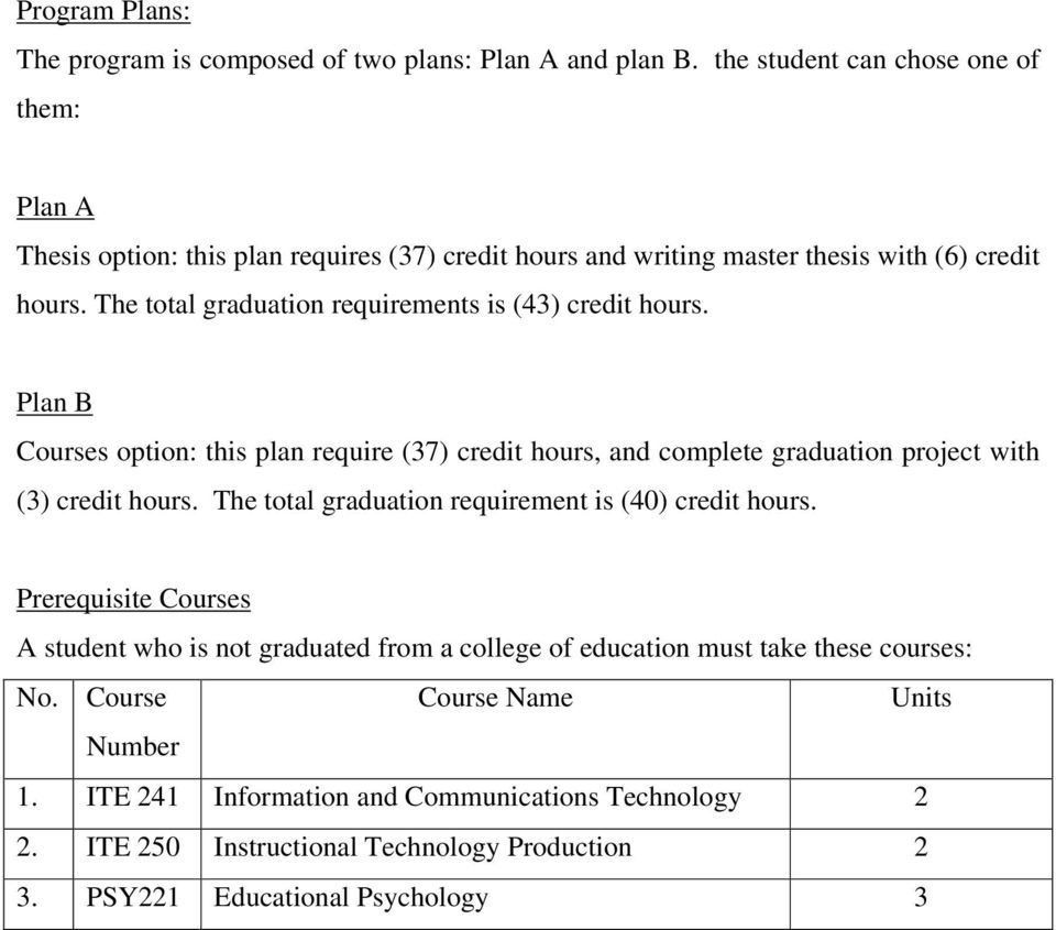 The total graduation requirements is (43) credit hours. Plan B Courses option: this plan require (37) credit hours, and complete graduation project with (3) credit hours.