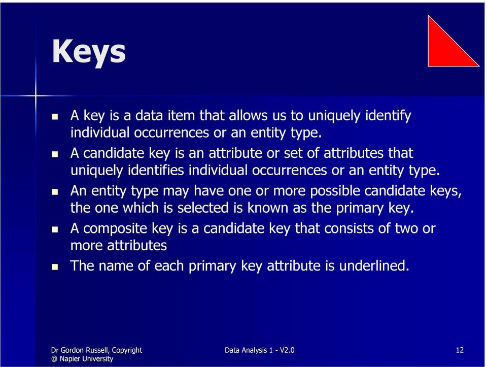 An entity type may have one or more possible candidate keys, the one which is selected is known as the primary key.