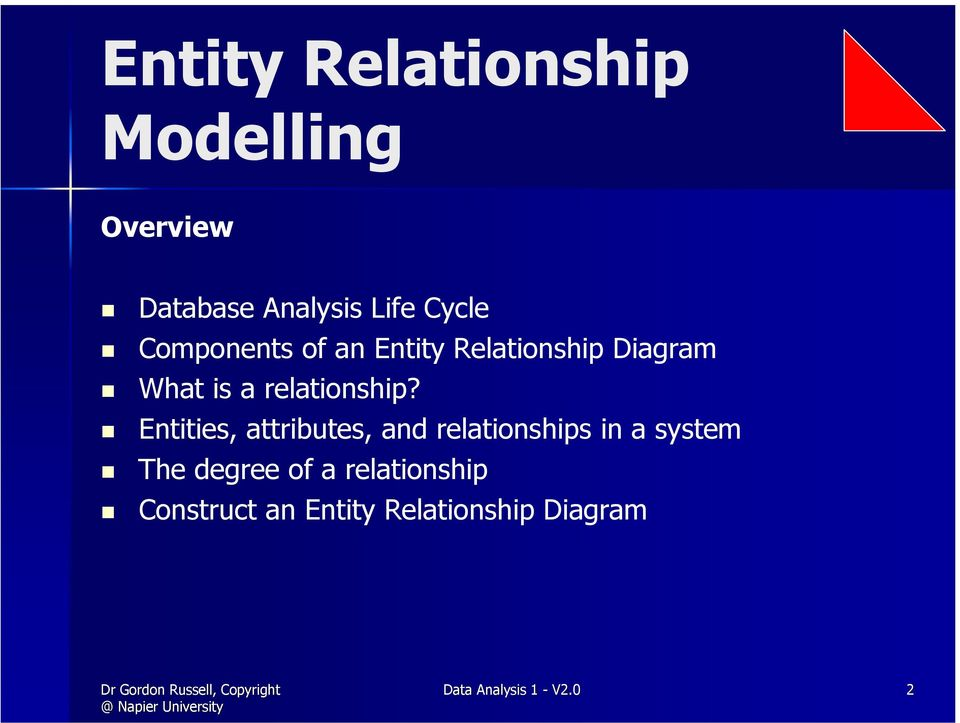 Entities, attributes, and relationships in a system The degree of a