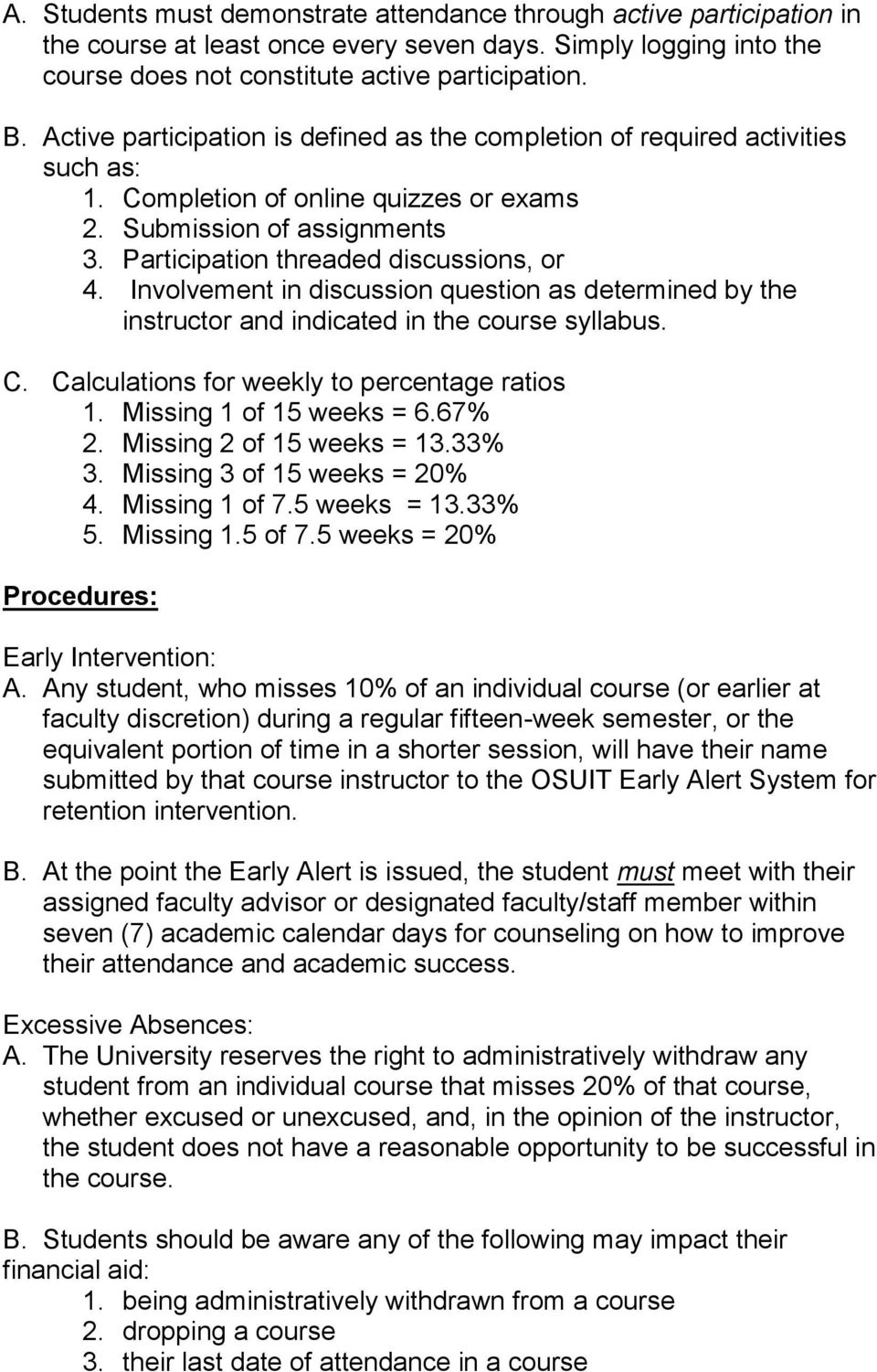 Involvement in discussion question as determined by the instructor and indicated in the course syllabus. C. Calculations for weekly to percentage ratios 1. Missing 1 of 15 weeks = 6.67% 2.