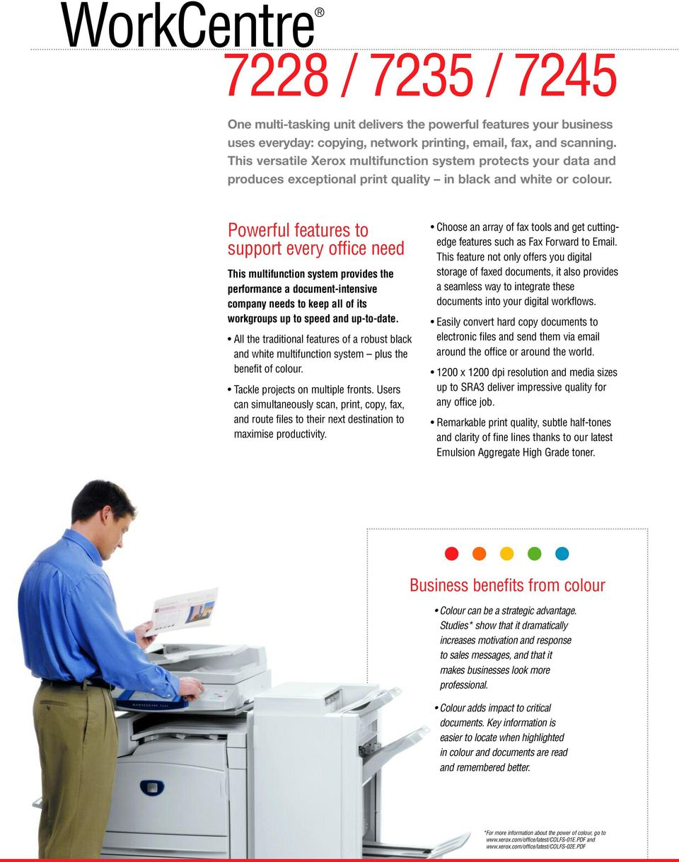Powerful features to support every office need This multifunction system provides the performance a document-intensive company needs to keep all of its workgroups up to speed and up-to-date.