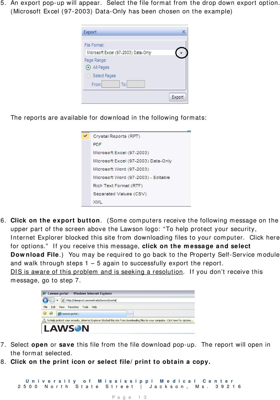 (Some computers receive the following message on the upper part of the screen above the Lawson logo: To help protect your security, Internet Explorer blocked this site from downloading files to your