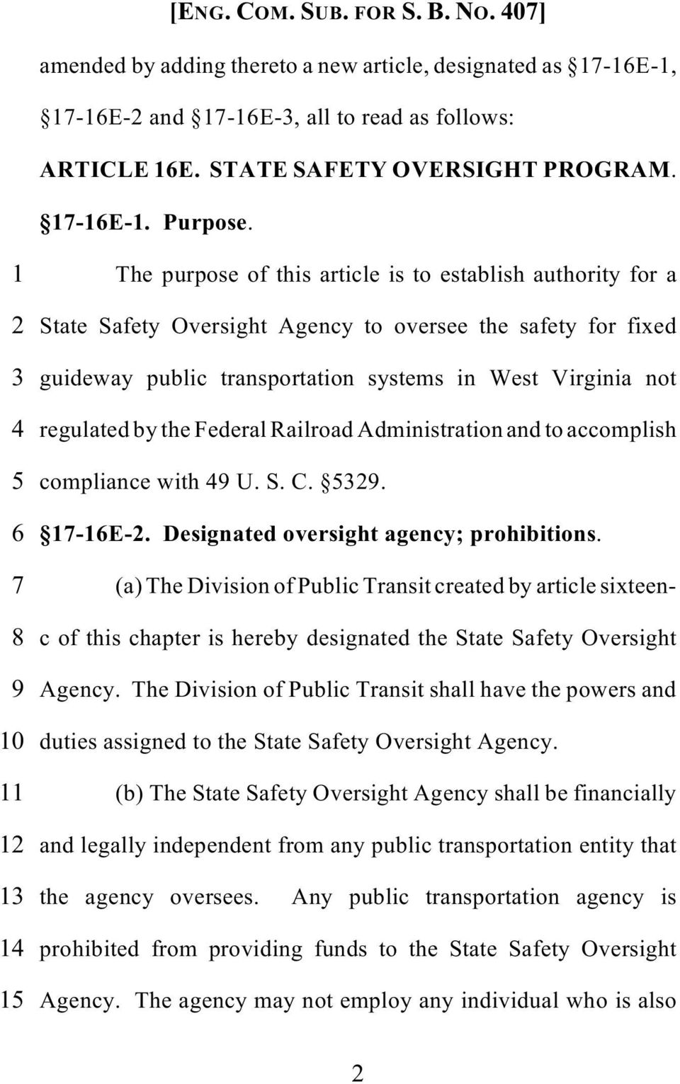 by the Federal Railroad Administration and to accomplish 5 compliance with 49 U. S. C. 5329. 6 17-16E-2. Designated oversight agency; prohibitions.