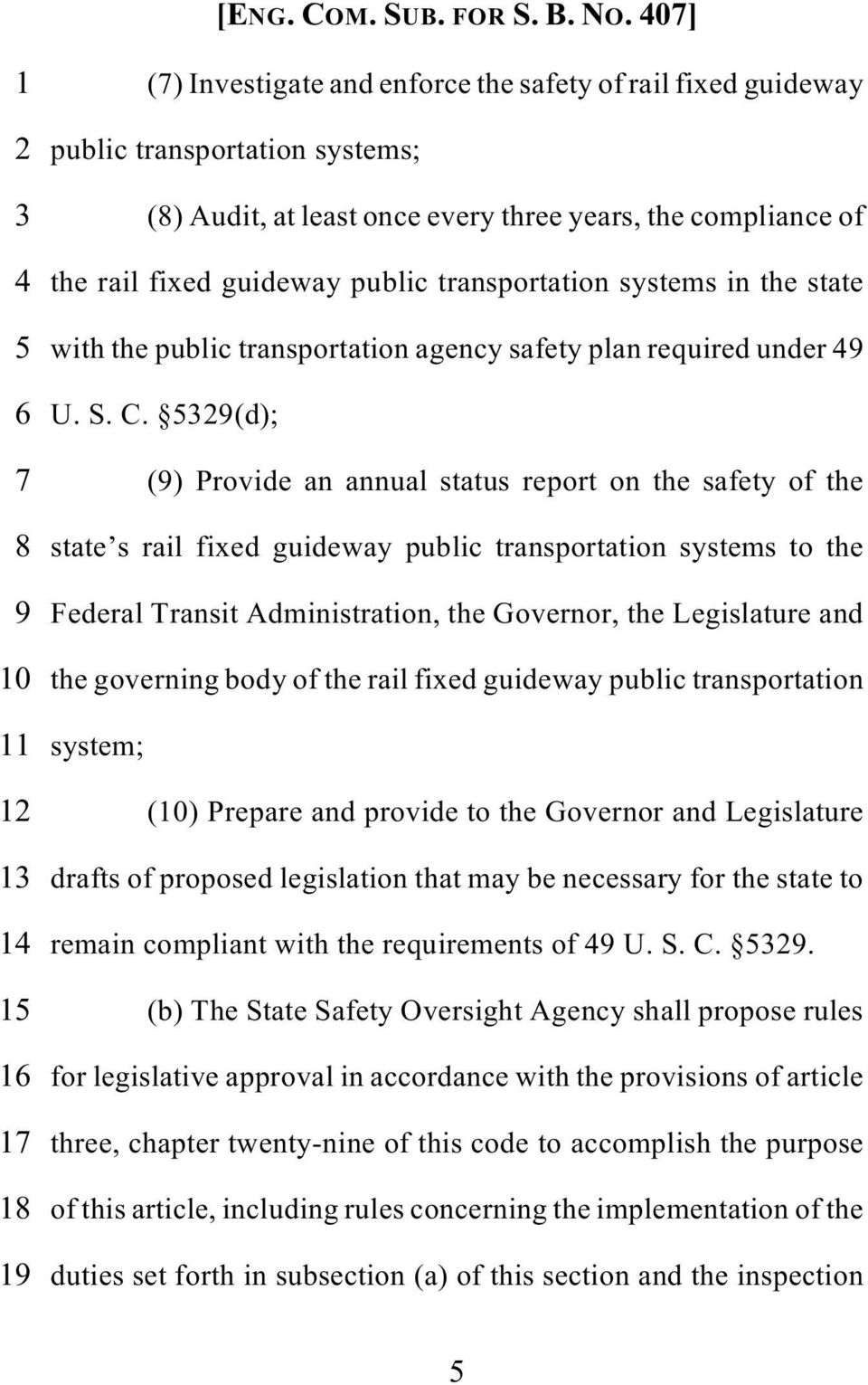 5329(d); 7 (9) Provide an annual status report on the safety of the 8 state s rail fixed guideway public transportation systems to the 9 Federal Transit Administration, the Governor, the Legislature