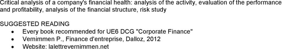 "structure, risk study Every book recommended for UE6 DCG ""Corporate Finance"""