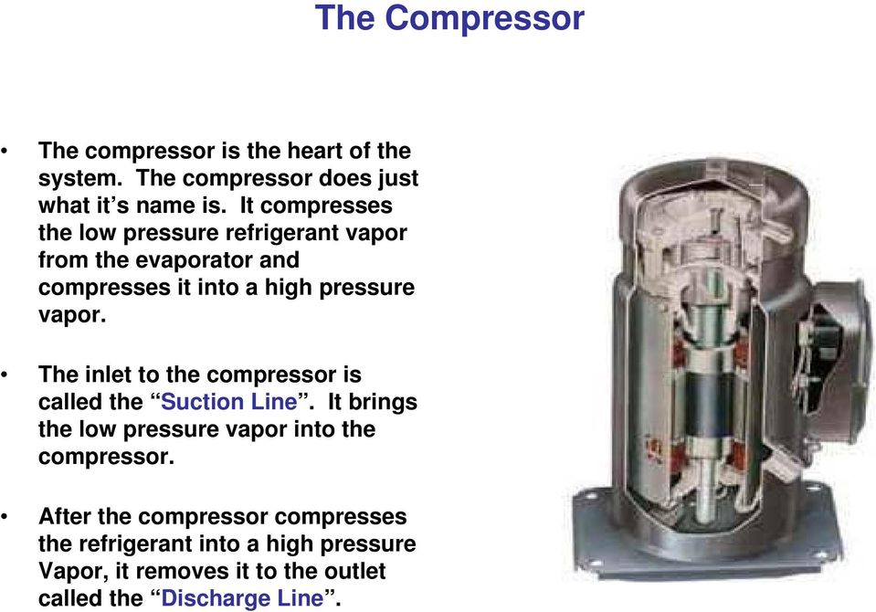 The inlet to the compressor is called the Suction Line. It brings the low pressure vapor into the compressor.