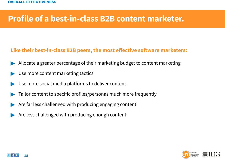 marketing budget to content marketing Use more content marketing tactics Use more social media platforms to deliver