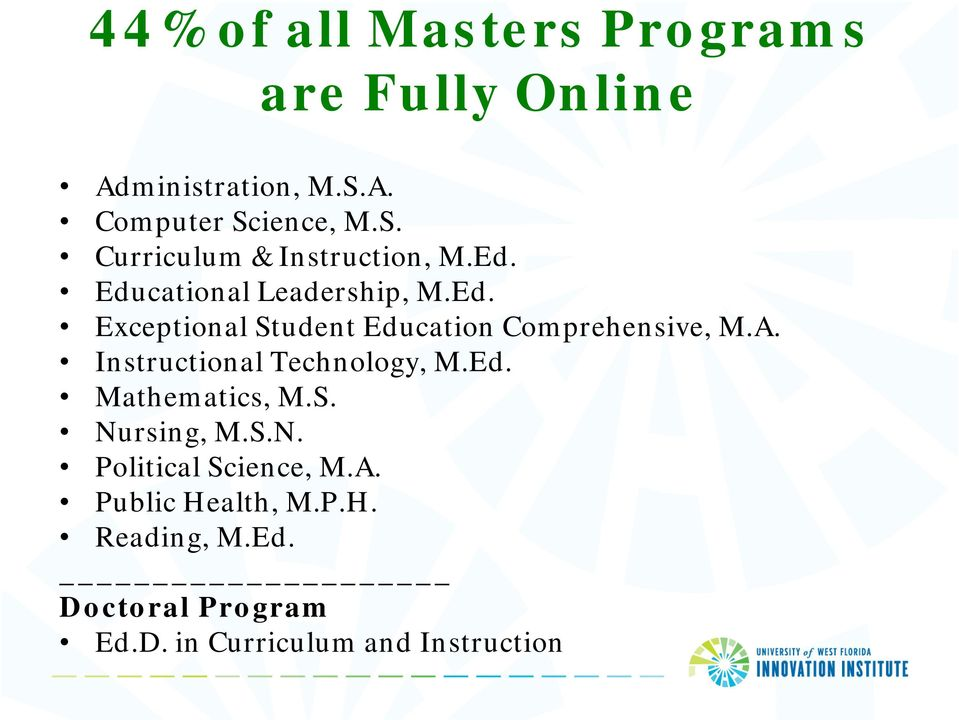 Instructional Technology, M.Ed. Mathematics, M.S. Nursing, M.S.N. Political Science, M.A.