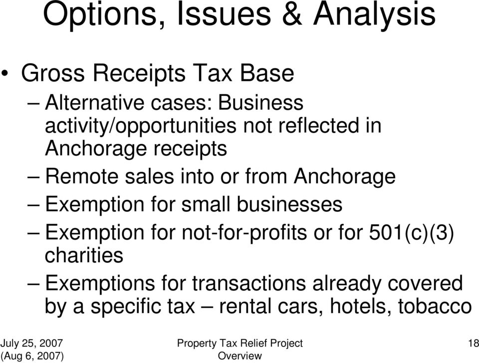 Anchorage Exemption for small businesses Exemption for not-for-profits or for 501(c)(3)