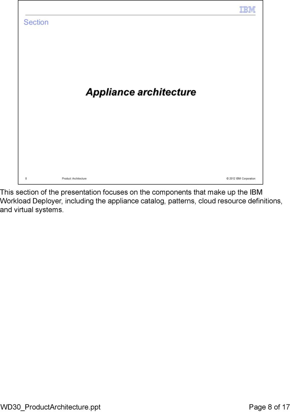 including the appliance catalog, patterns, cloud