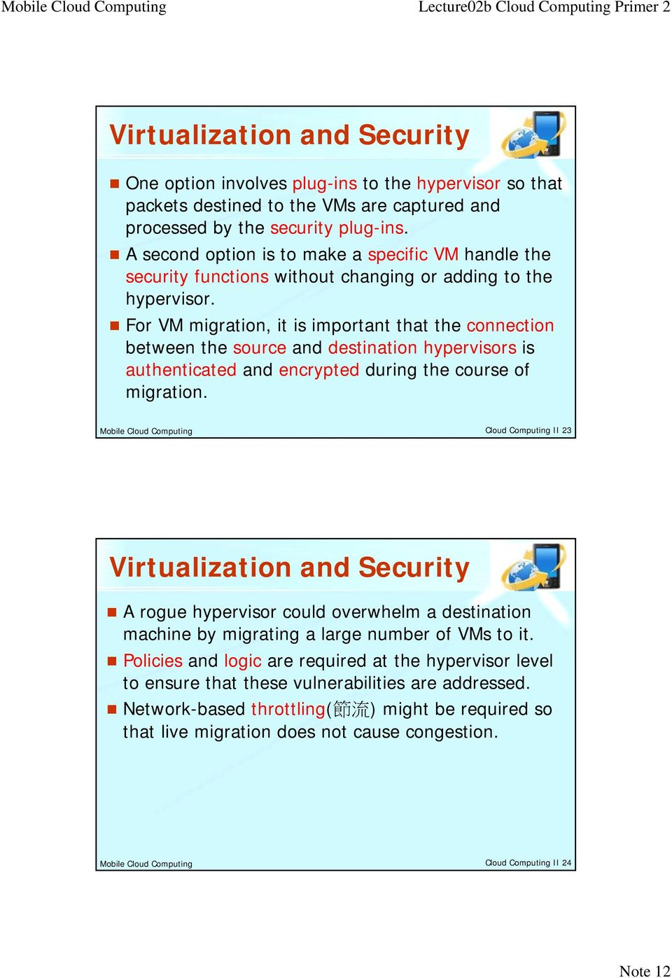 For VM migration, it is important that the connection between the source and destination hypervisors is authenticated and encrypted during the course of migration.