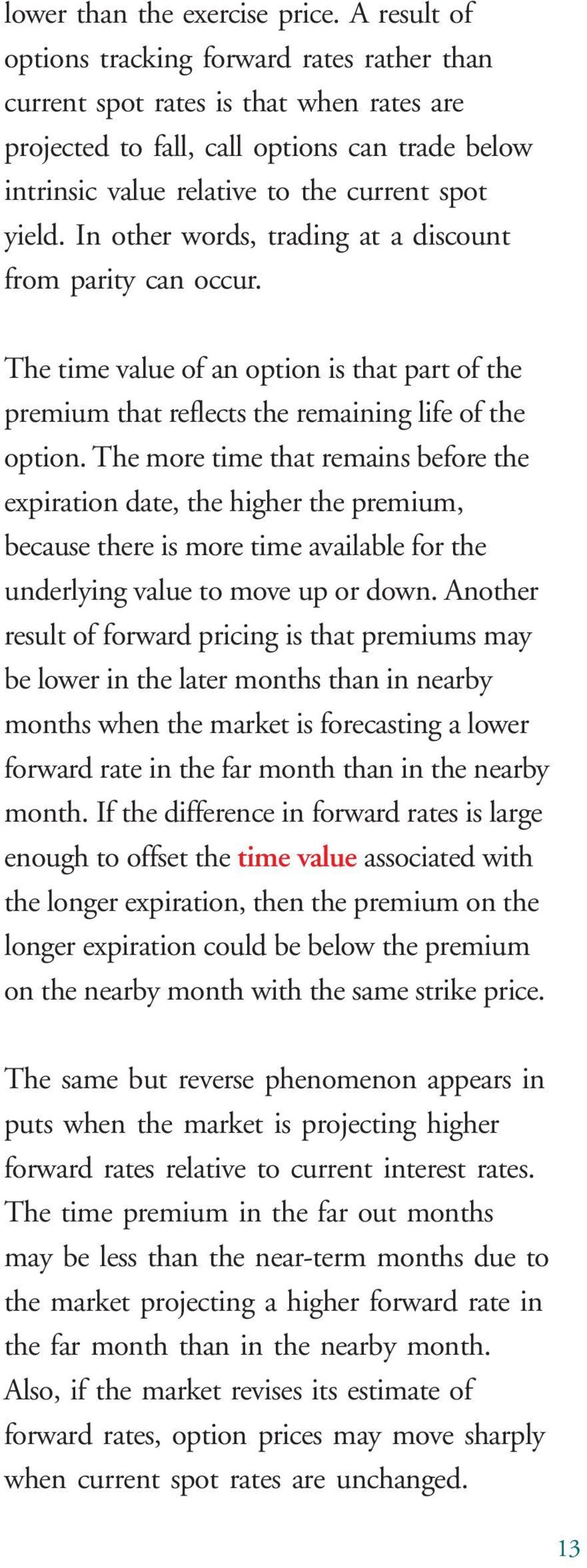 In other words, trading at a discount from parity can occur. The time value of an option is that part of the premium that reflects the remaining life of the option.