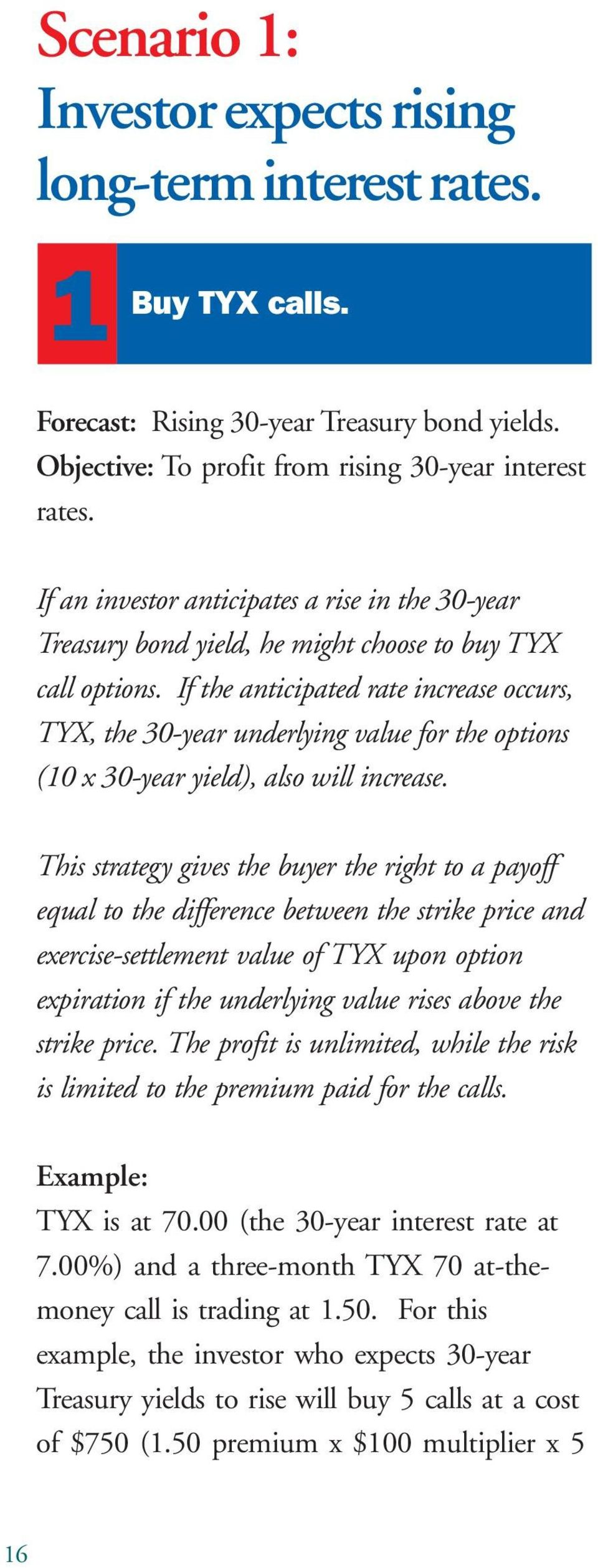 If the anticipated rate increase occurs, TYX, the 30-year underlying value for the options (10 x 30-year yield), also will increase.