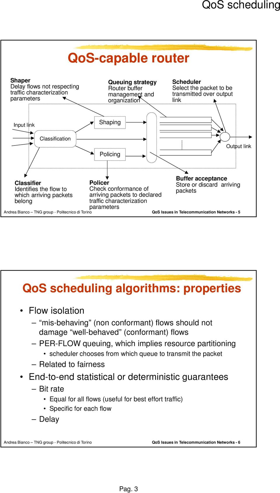 declared traffic characterization parameters Buffer acceptance Store or discard arriving packets QoS Issues in Telecommunication Networks - 5 QoS scheduling algorithms: properties Flow isolation