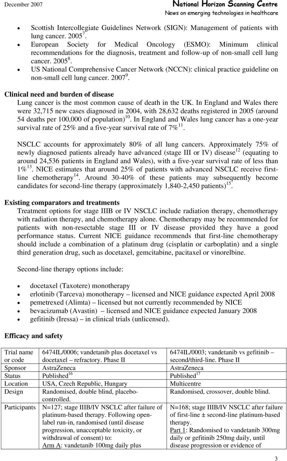 US National Comprehensive Cancer Network (NCCN): clinical practice guideline on non-small cell lung cancer. 2007 9.