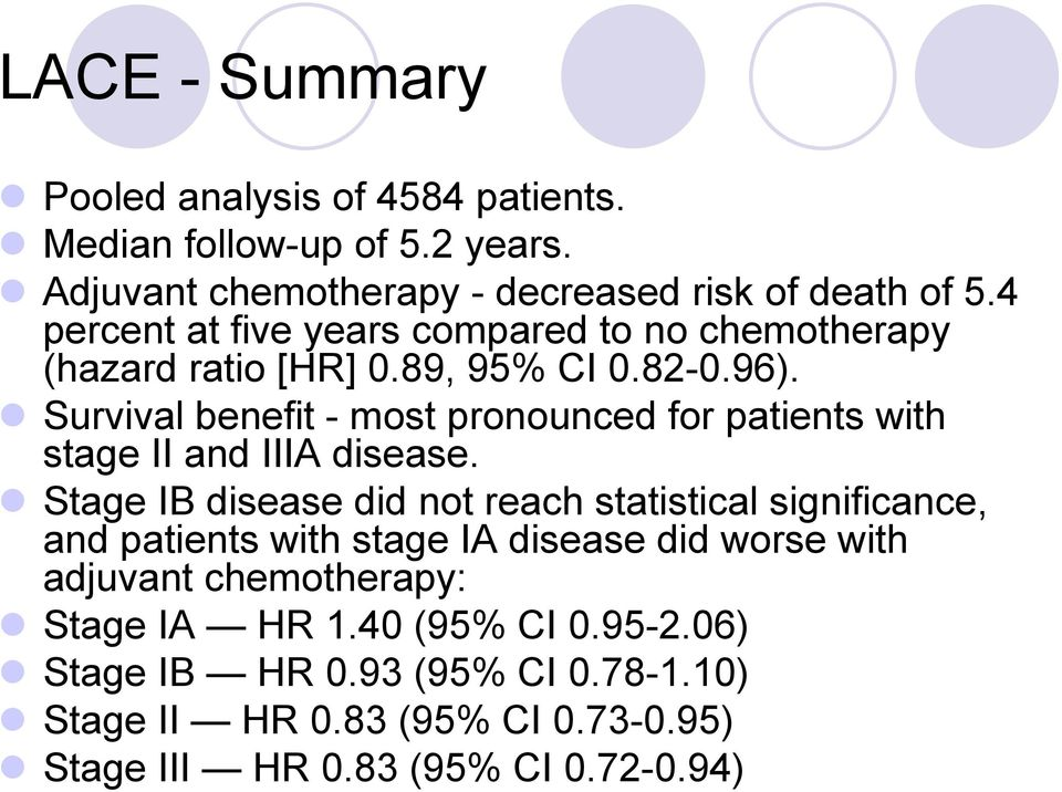 Survival benefit - most pronounced for patients with stage II and IIIA disease.