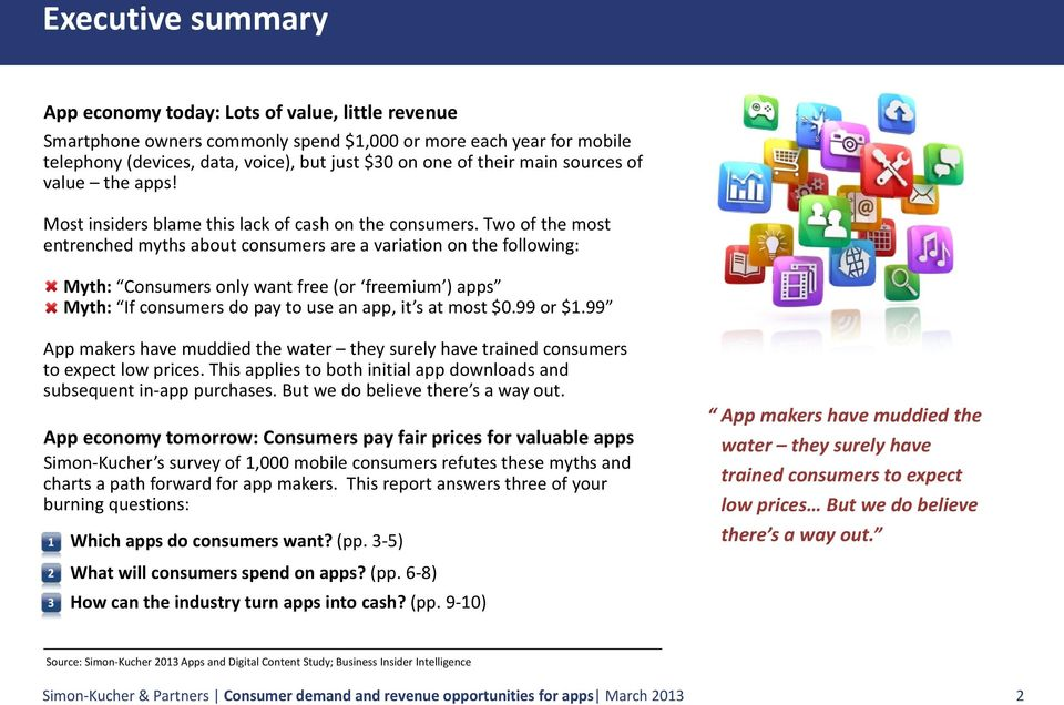 Two of the most entrenched myths about consumers are a variation on the following: Myth: Consumers only want free (or freemium ) apps Myth: If consumers do pay to use an app, it s at most $0.99 or $1.