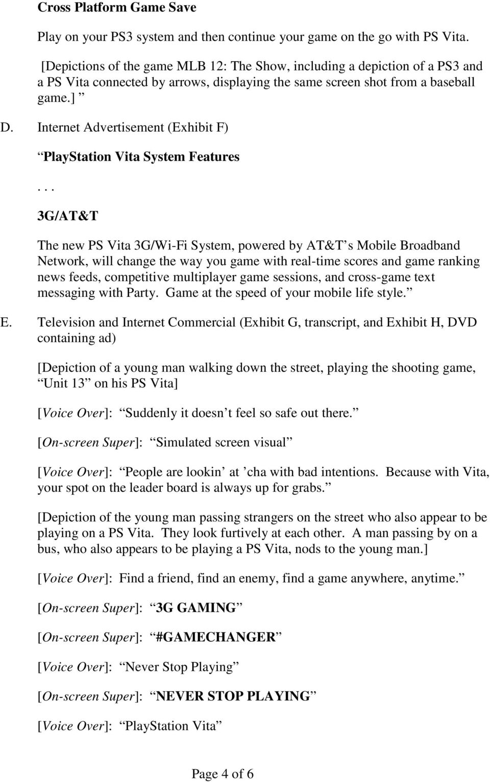 Internet Advertisement (Exhibit F) PlayStation Vita System Features.