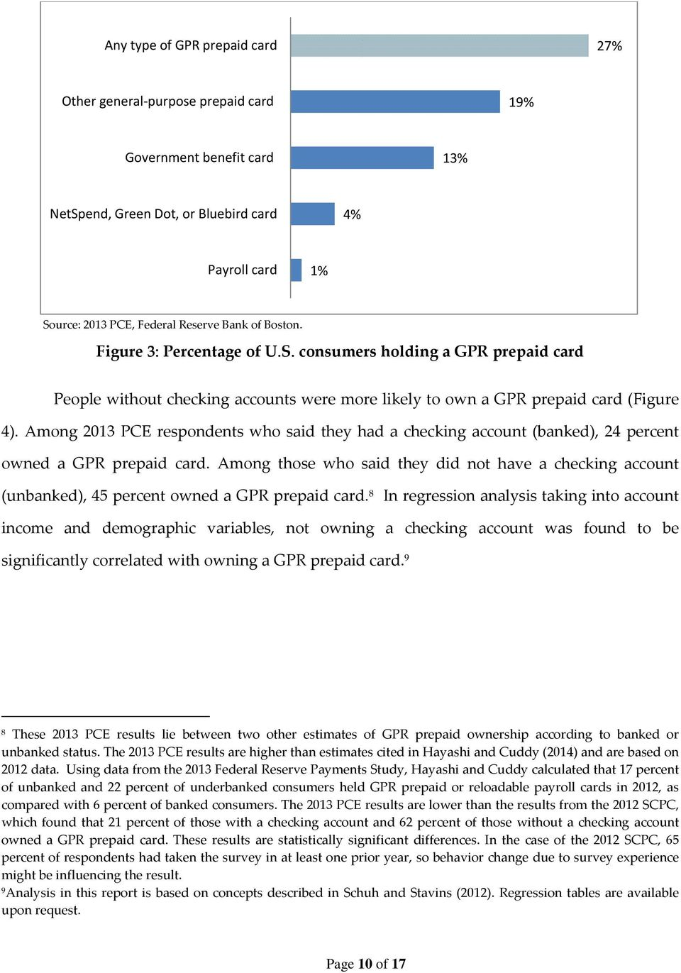 Among 2013 PCE respondents who said they had a checking account (banked), 24 percent owned a GPR prepaid card.