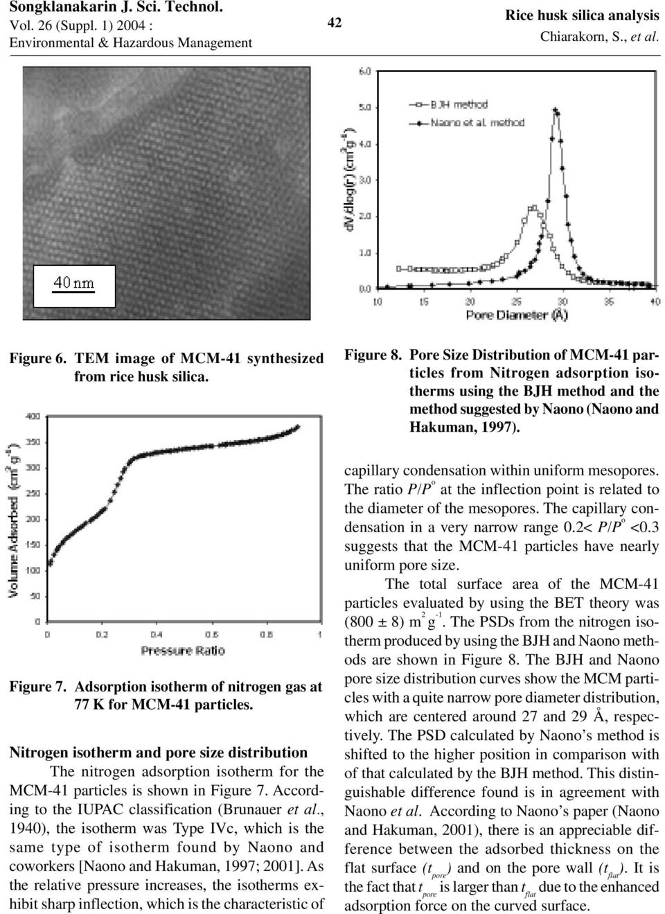 Adsorption isotherm of nitrogen gas at 77 K for MCM-41 particles. Nitrogen isotherm and pore size distribution The nitrogen adsorption isotherm for the MCM-41 particles is shown in Figure 7.
