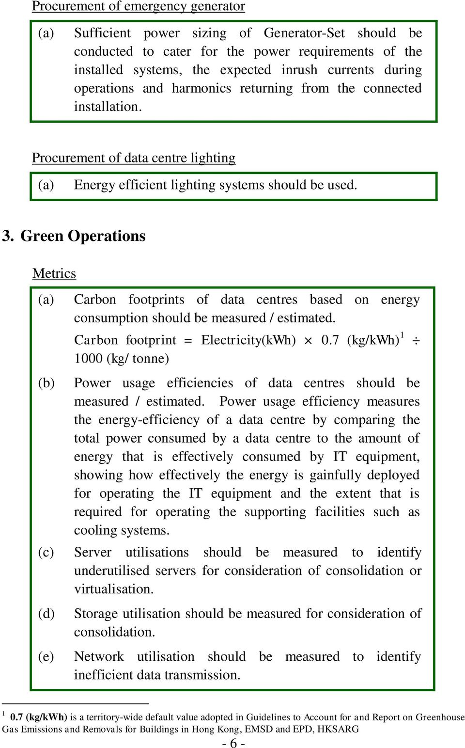 Green Operations Metrics (e) Carbon footprints of data centres based on energy consumption should be measured / estimated. Carbon footprint = Electricity(kWh) 0.