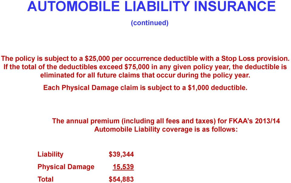 occur during the policy year. Each Physical Damage claim is subject to a $1,000 deductible.