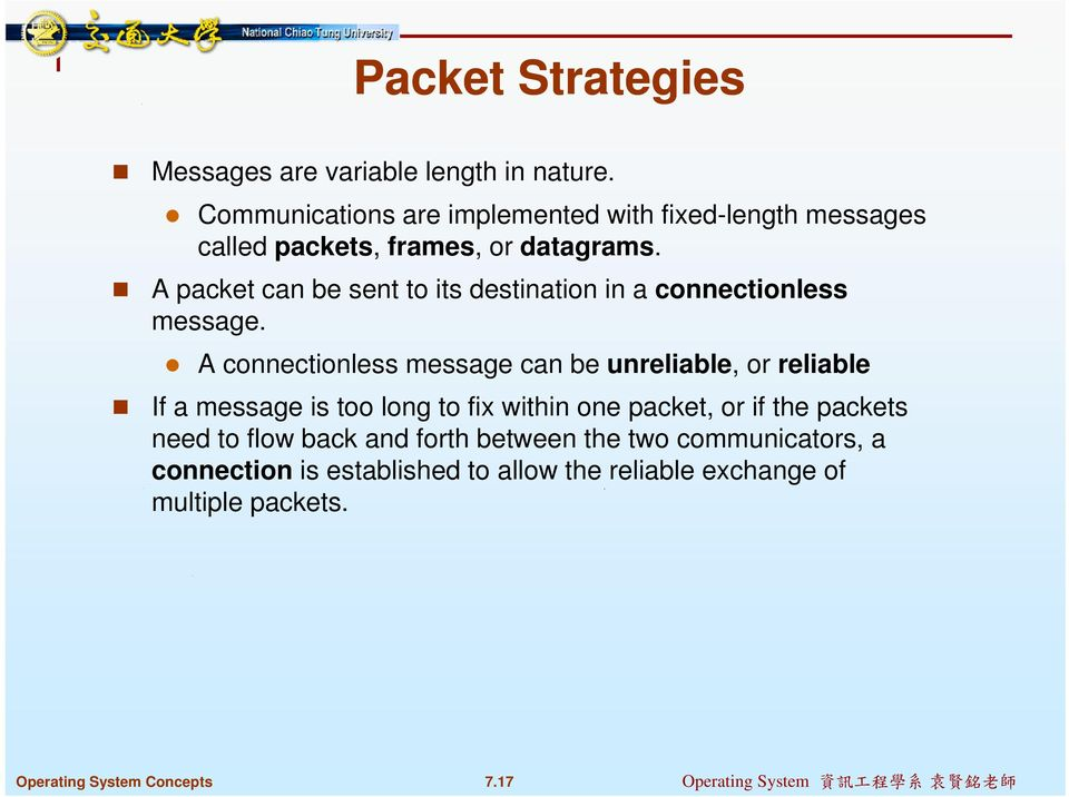 A packet can be sent to its destination in a connectionless message.