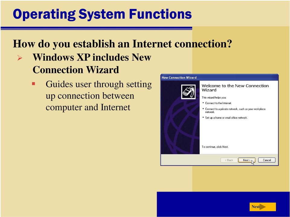 Windows XP includes New Connection Wizard