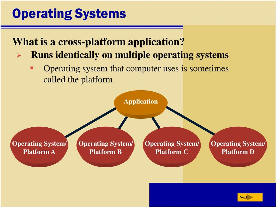 computer uses is sometimes called the platform Application Operating