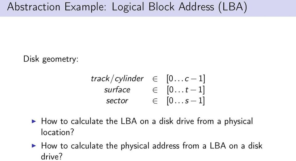 ..s 1] How to calculate the LBA on a disk drive from a physical