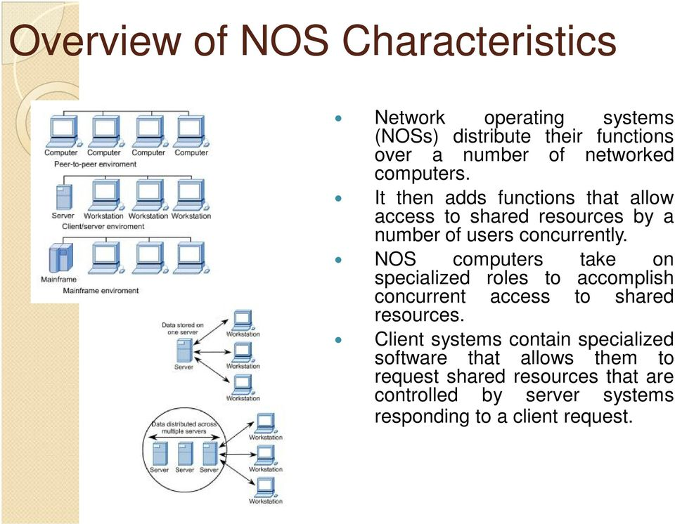 NOS computers take on specialized roles to accomplish concurrent access to shared resources.