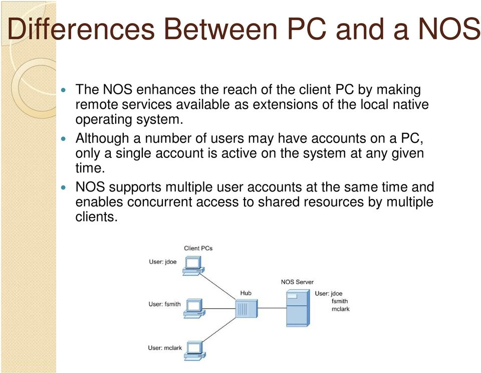 Although a number of users may have accounts on a PC, only a single account is active on the system