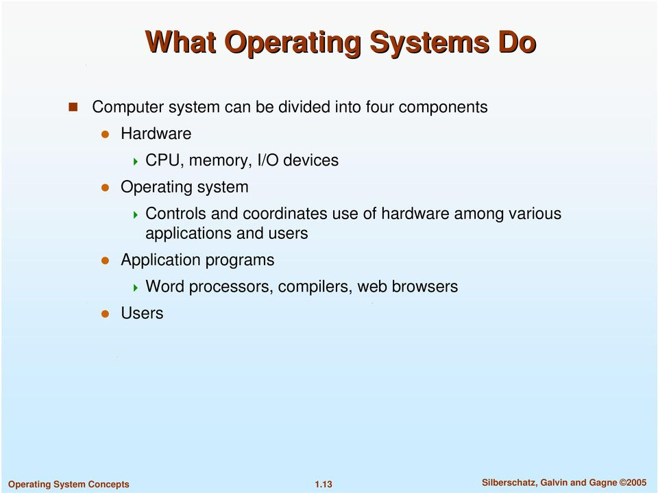 use of hardware among various applications and users Application programs Word