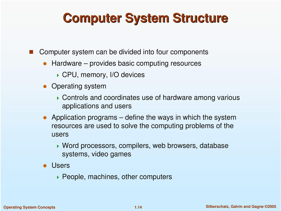 programs define the ways in which the system resources are used to solve the computing problems of the users Word processors,
