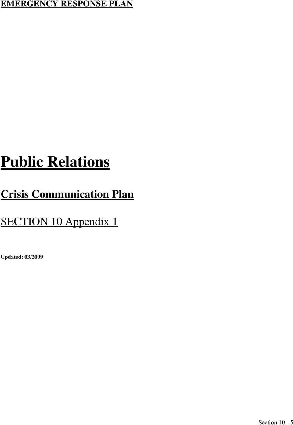 Communication Plan SECTION 10