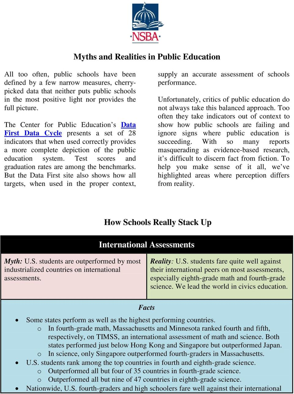 The Center for Public Education s Data First Data Cycle presents a set of 28 indicators that when used correctly provides a more complete depiction of the public education system.