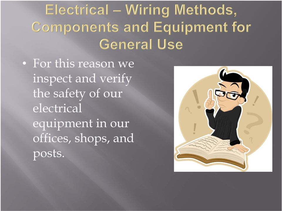 our electrical equipment in