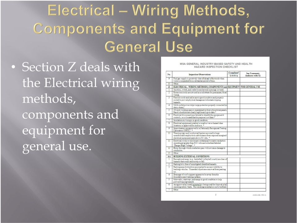 methods, components and