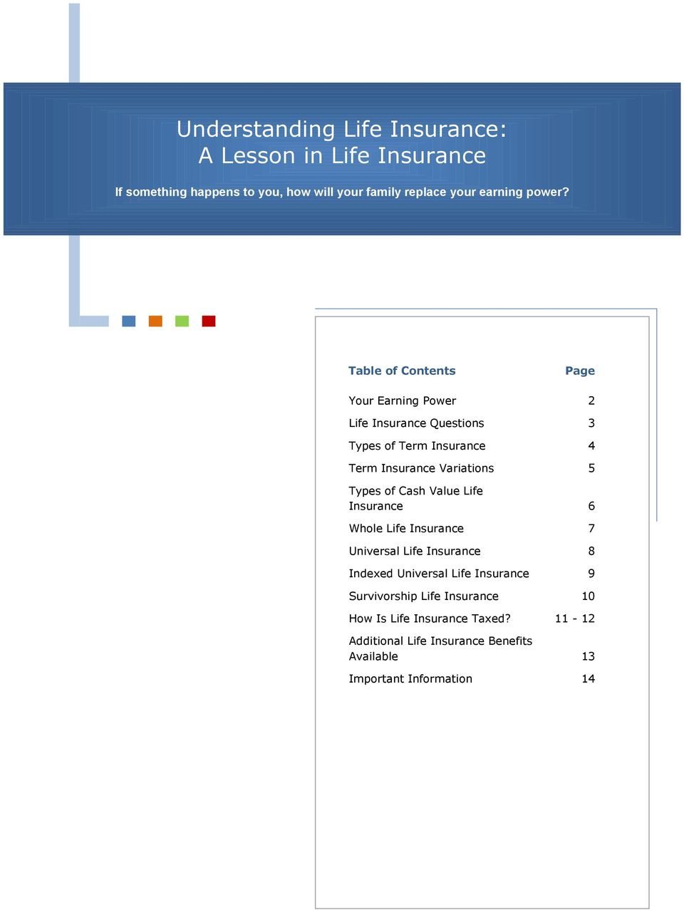 Table of Contents Page Your Earning Power 2 Life Questions 3 Types of Term 4 Term Variations 5 Types