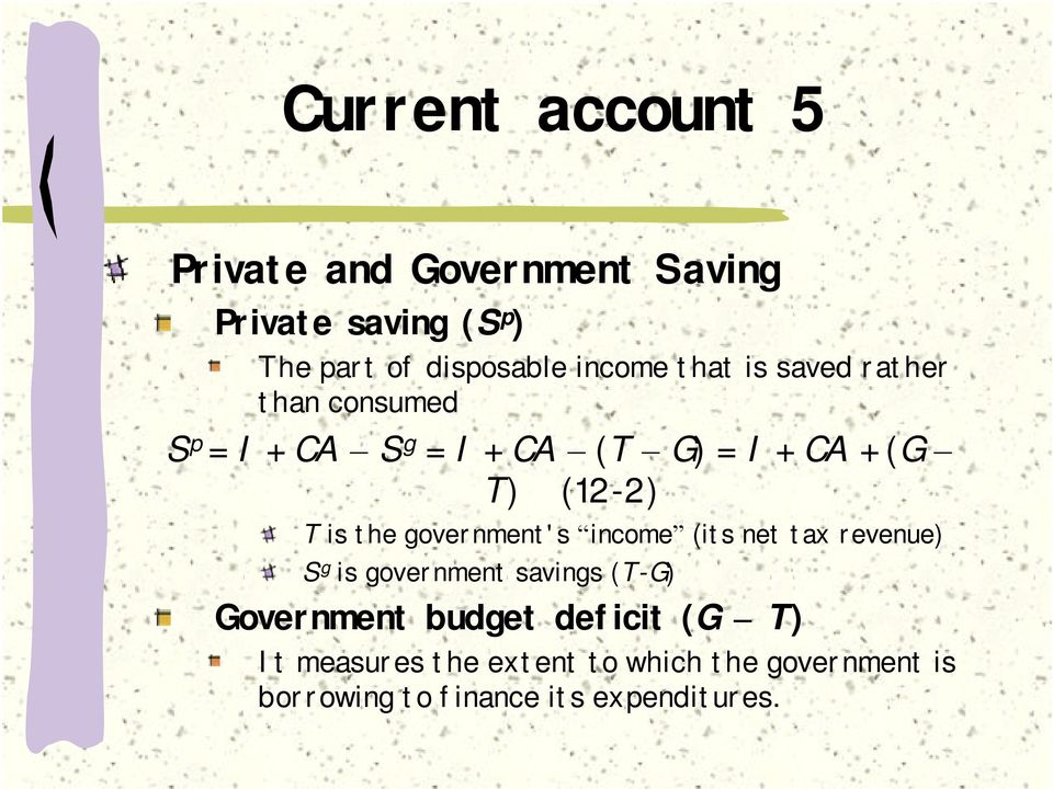 T is the government's income (its net tax revenue) S g is government savings (T-G) Government