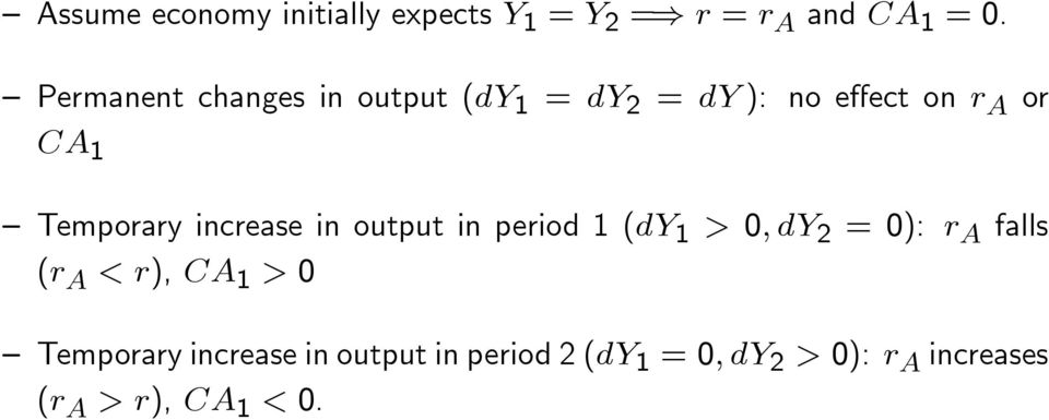 increase in output in period 1 (dy 1 > 0; dy 2 = 0): r A falls (r A < r), CA 1 > 0