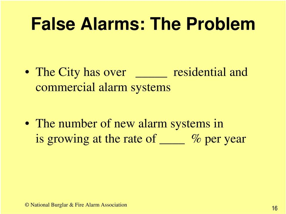 systems The number of new alarm systems
