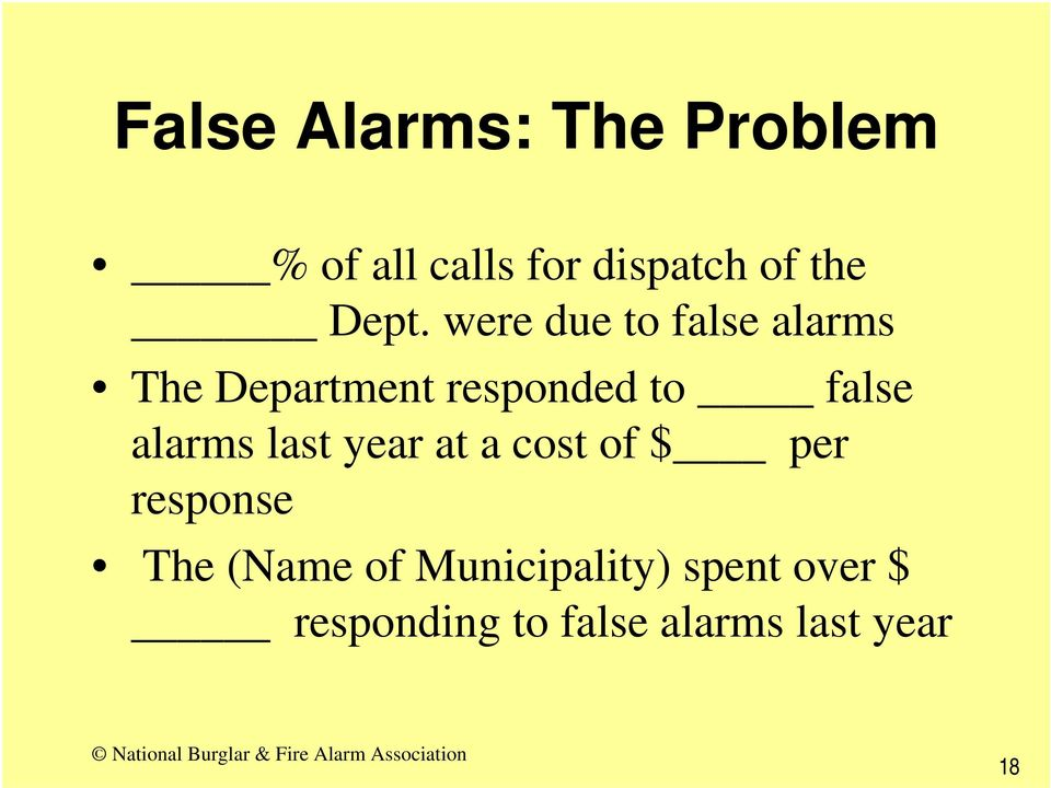 false alarms last year at a cost of $ per response The (Name